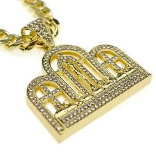 """The Last Supper Hip Hop Chain Bling Pendant Gold Finish Mens 30"""" Cuban Necklace"""