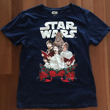 Star Wars Mens Blue Xmas Carols Novelty Christmas Shirt Sleeve T-shirt Size L