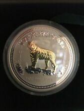 Australia $1 2007 2010 Lunar I Silver .999 1 oz Year Of The Tiger Gilded Giftbox