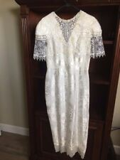 Jessica McClintock VINTAGE lace Victorian peplum Long wedding bridal  dress 10