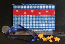 Creative Kit: Blue White Check Yellow Star Fabric Ribbon Wood 1:12 Mini CK3314