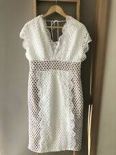 Gorgeous ELLIATT White Scalloped Eyelet Lace Sleeveless Midi Dress Sz XL AS NEW