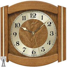 AMS Radio Horloge murale chêne massif avec applications Verre minéral NEUF