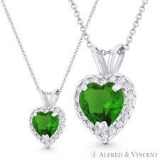 Heart Love Charm Faux Emerald Green CZ Crystal 13x9mm Pendant in 14k White Gold