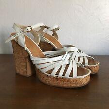 Vintage 70s Cork Platform Heel White Leather Sandals Shoes Brazil Miss America