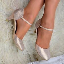 Womens Glitter Low Kitten Heel Shoes Mary Jane Ankle strap Pumps Dress Sandals