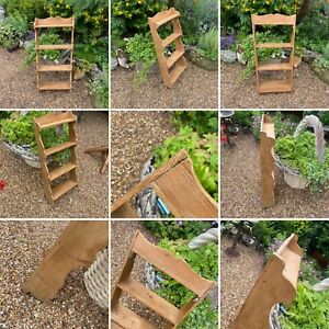 Vintage Pine Wooden Shelf Unit Wall Mounted 4 Tier Waterfall Scalloped Edge