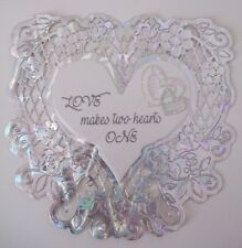 Heart Silver Card Topper - Love makes two hearts one- Wedding/ Anniversary