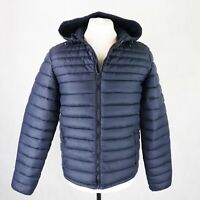 Mens SOULCAL&CO Quilted Puffer Hooded Jacket Size MEDIUM Padded Lightweight Navy
