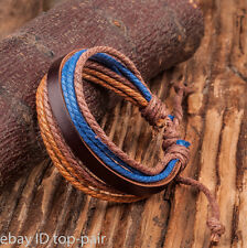 Trendy Handmade Surfer Tribal Wrap Hemp Braided Genuine Leather Cuff Bracelet