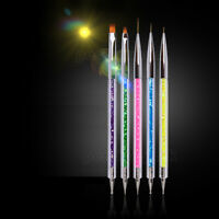 5PCS Nail Art UV Gel Liner Drawing Brush Flower Painting Pen DIY Manicure Tool