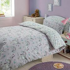 MAGIC UNICORNS DOUBLE DUVET COVER SET GIRLS KIDS BEDDING REVERSIBLE FREE P+P