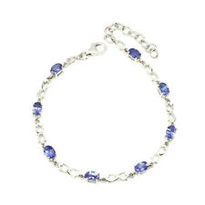 Unheated Oval Blue Tanzanite 6x4mm Natural 925 Sterling Silver Bracelet 8.5in
