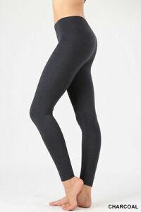 Womens ZENANA Full Ankle Length Leggings Basic Cotton Span Stretch Pants