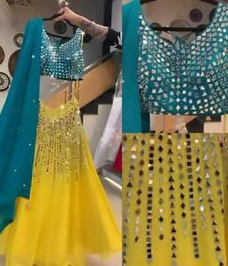 Yellow Beauty Mirror Work Indian Party Wear Lehenga Lengha Choli Pakistani Skirt