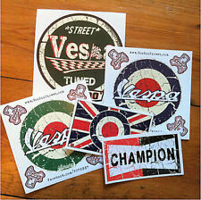 VESPA ROUND  STICKERS, SELF ADHESIVE + FREE ROUNDEL UNION JACK STICKER!