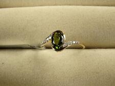 Rare Chrome Tourmaline Solitaire & Diamond 10K Yellow Gold Ring Size N-O/7