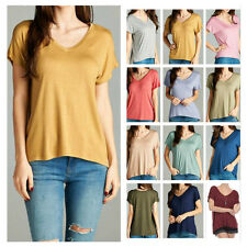 Women Casual Oversize V-Neck Knit Tunic Top Solid Short Sleeve T-Shirts Junior