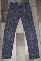 ~ 8 ans LA HALLE - AUR578 ~ Pantalon en jean bleu à pois Fille