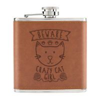 Beware Crazy Cat Girl 6oz PU Leather Hip Flask Tan - Funny Kitten Animal