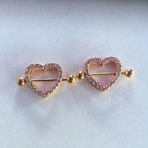 2x Gold Heart Double Layer Rhinestone Sexy Piercing Nipple Bars Body Jewellery