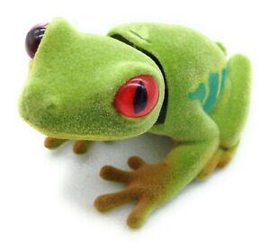 Flocked Bobble Head Tree Frog Orange Eyes Auto Car Dashboard Adhesive Dash