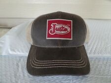JUSTIN BOOTS ADJUSTABLE WAXED FRONT TRUCKERS HAT. NWT.