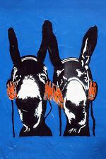 Banksy style dj donkey painting street art graffiti urban Framed Canvas Print