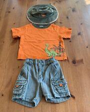Gymboree Boys 6-12M 3 Pc Shorts, Top, & Hat Dinosaur Outfit Vintage 2003