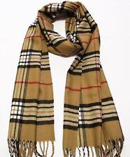 100% cashmere super soft, unisex scarf neck warmer plaid design color beige