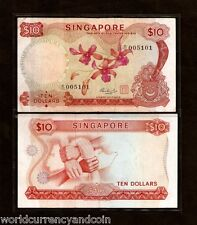 SINGAPORE $10 P3d 1973 BOAT ORCHID WITH RED SEAL BRUNEI WORLD CURRENCY BILL NOTE