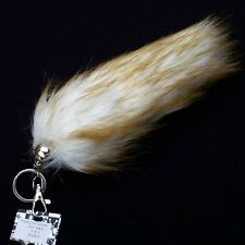 "NEW FAUX FUR TASSEL PURSE RING ~ 9"" WHITE BROWN FOX TAIL KEY CHAIN CLIP YWK05S"
