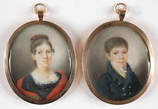 "Pierre Brun (1764-1856)-Attrib. ""Lady and her son"", two high quality miniatures"