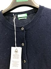New Benetton Merino Wool Round Neck Cardigan Navy XS