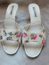 Vintage MANOLO BLAHNIK pretty floral Leather mules kitten heels uk 5 eur 38