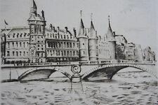 CERIA, Quai de Paris, gravure , dimensions de la feuille: 230 mm X 300 mm