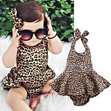 Leopard Print Baby Girls Cartoon Backless Romper Playsuit Clothes Outfits N7