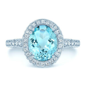 14k White Gold Oval Aquamarine Diamond Solitaire Ring Halo Three Sided Natural