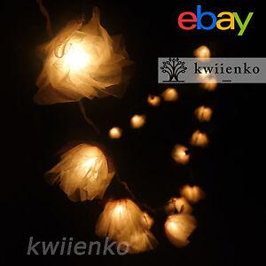 20 White Carnation Flower Fairy String Lights Wedding Party Patio HomeDecor 3.5m