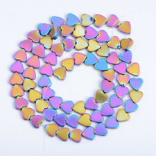 Natural Hematite Gemstone Heart Silver Gold Multi Colour Beads 4mm  6mm 8mm 10mm