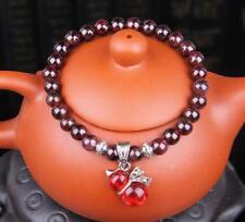 Natural crystal garnet bracelet fortune gourd pendents single turn hand chain