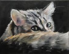 Original oil painting, Animals, Cat, HERE I AM 8x10