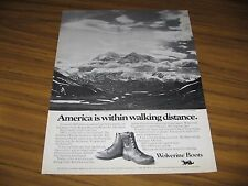 1973 Print Ad Wolverine Boots Ansel Adams Photo Mt McKinley National Park