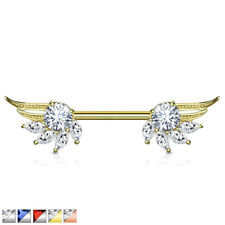 Bar With 316L Surgical Steel Barbell Cz Prong Set Angel Wings Ends Nipple