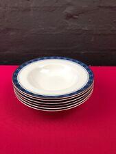 6 x Royal Doulton Eton Rimmed Soup Bowls 20.5 cm Wide Set 2 Sets Available