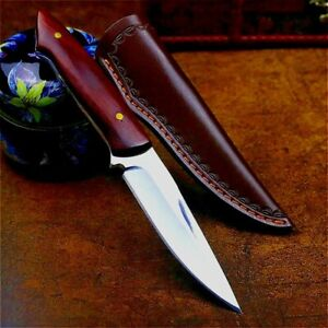D2 Steel Drop Point Knife Fixed Blade Hunting Jungle Combat Tactical Wood Handle