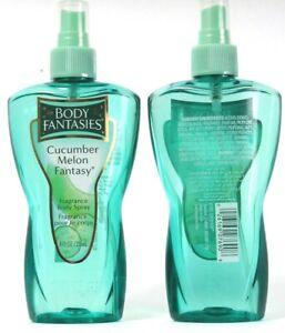 2 Bottles Body Fantasies Cucumber Melon Fantasy Fragrance Body Spray 8Fl oz