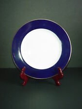 Crate & Barrel CBL174 Cobalt Blue Rim Dinner Plate Gold Trim