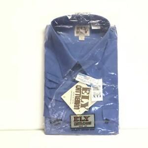 Ely Cattleman Mens XL Snap Up Western Shirt Blue Cotton Blend Long Sleeve NEW