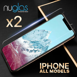 2x NUGLAS Tempered Glass Screen Protector For iPhone XS Max XR X 8 7 6s Plus 5s